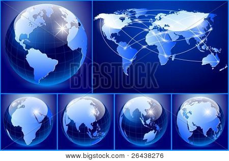 Vector of blue earth set