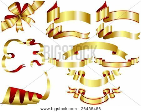 Vector of gold ribbons set