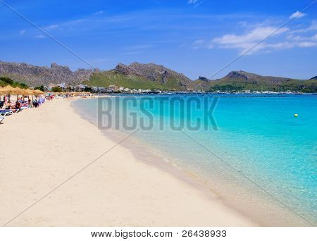 Pollensa Port sand beach in Mediterranean Mallorca island at Balearic Spain