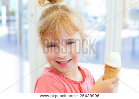children girl happy with cone icecream smiling