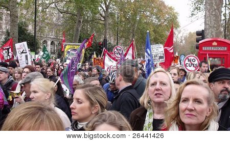 LONDON- NOV 30: Teachers and public service workers march on the streets of London, during the largest national public sector workers strike in 30 years, London, Nov 30, 2011.