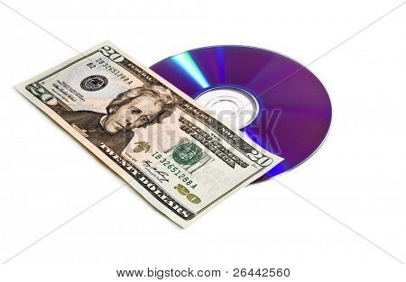 digital disc and money media market concept