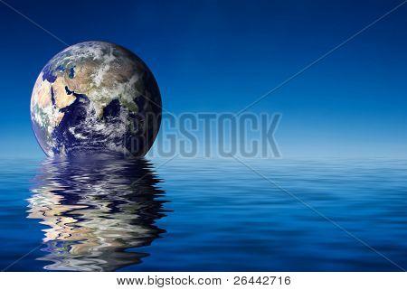 Earth like planet rise over ocean