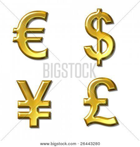 euro, dollar, yen, pound symbols with gold bevel - 4 in 1