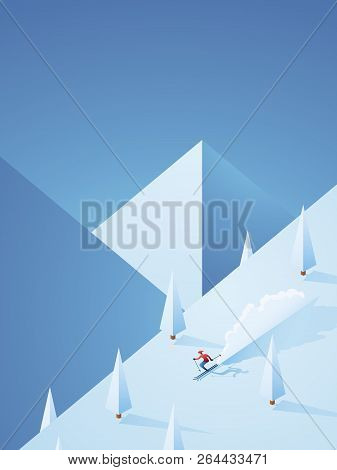 Extreme Downhill Skiing Vector Poster