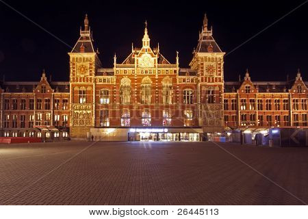 Central Station in Amsterdam the Netherlands at night