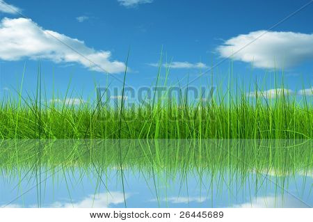 Green grass over a blue sky background and reflection in water ideal for seasonal,summer,spring,nature or ecology designs