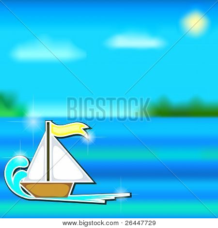 Cartoon Boat Sticker And Sea
