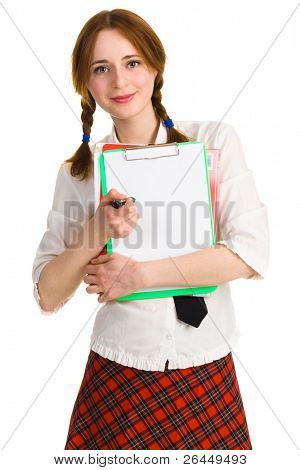 Pretty young woman with a worksheet