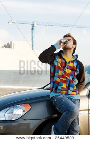 Car driver having a refreshing drink