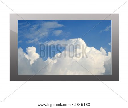 Plasma Tv With Clouds Display