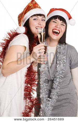 Christmas girls holding champagne glasses, isolated on white background