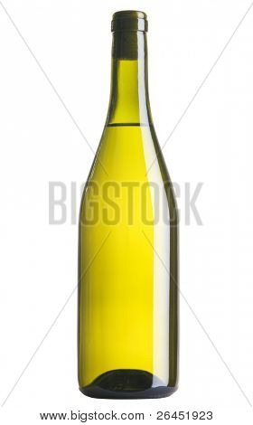 Bottle of white wine, isolated on white background