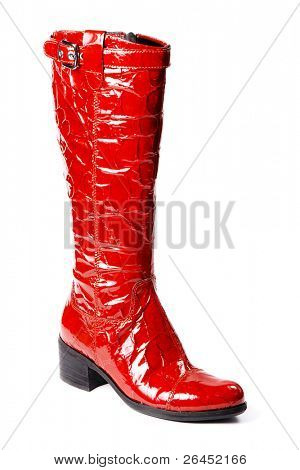Modern red boots isolated on white background