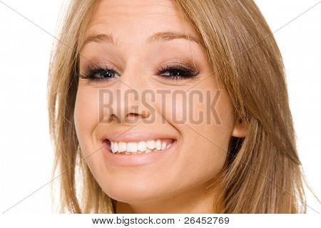 Young beautiful woman face portrait