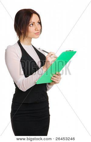 Beautiful yong businesswoman, white background