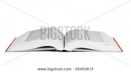 Big open book on white background, with clipping path