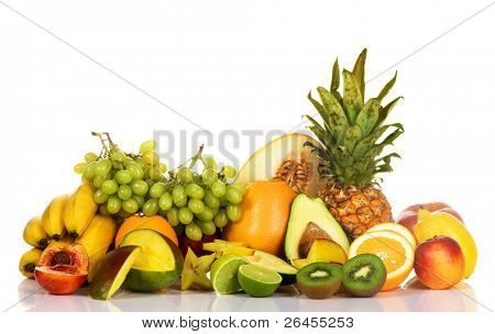 Assortment of fresh fruits isolated on white background