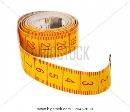 Yellow mete on white background, studio isolated