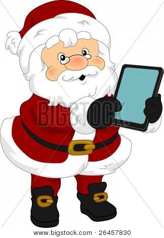 Illustration of Santa Claus Holding a Tablet Computer
