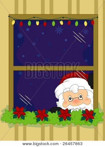 Illustration of Santa Claus Taking a Peek from the Window