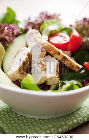 closeup of a healthy chicken salad with greens and pomme granate seeds and avocado