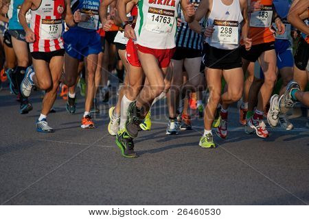 VALENCIA, SPAIN - NOV 27: Runners compete in the 31st Divina Pastora Valencia Marathon on November 27, 2011 in Valencia, Spain.