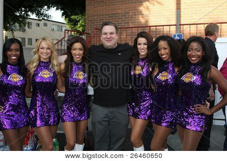 LOS ANGELES - NOV 30:  Jeff Garlin and the Laker Girls at the Hollywood Chamber Of Commerce 17th Annual Police And Fire BBQ at Wilcox Station on November 30, 2011 in Los Angeles, CA