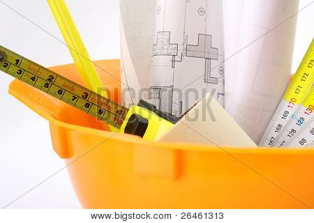 Construction equipment isolated on white background