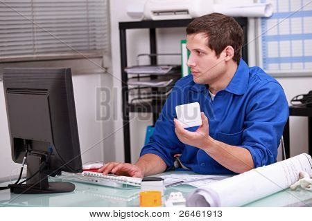 Man checking stock