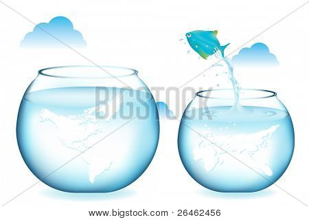 Blue Fish Jumping To Other Globe Aquarium, Isolated On White