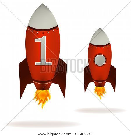 Stylized vector illustration of a starting retro rocket ship