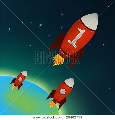 Illustration of a retro rocket ships flying throw outer space