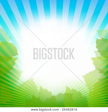 Abstract Frame Vector Background With Sky, Leaves And Rays