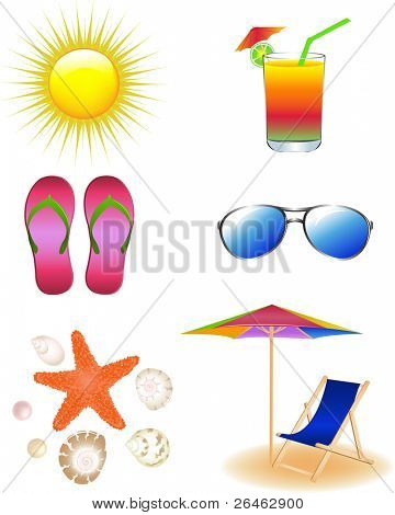 Vector Beach Set From Chaise Lounge, Sunglasses, Beach  Umbrella, Sea Animals, Beach Footwear And  Sun