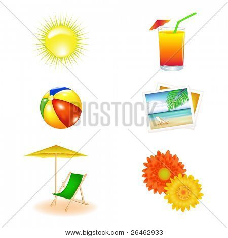 Beach Vector Set From Chaise Lounge, Beach Ball, Beach Umbrella, Cocktail, Photos, Daisy And Sun