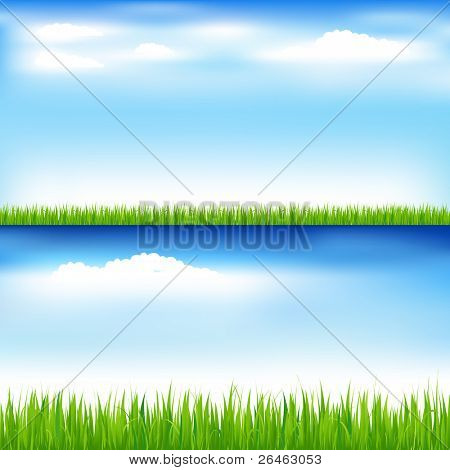 2 Beautiful Landscapes With Green Grass And Blue Sky With Clouds