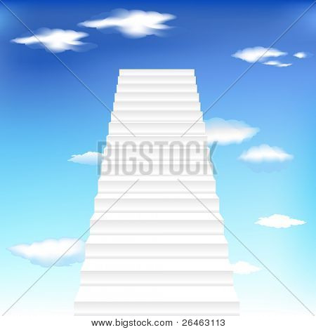 White Staircase In Blue Sky, Vector Illustration