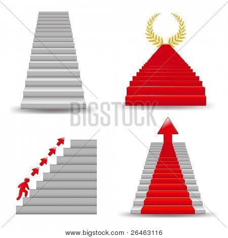 4 Escadas, isoladas no fundo branco, Vector Illustration