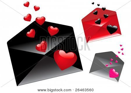 3 Envelops With Flying Hearts (Black envelop With Red Hearts, Red With Demons And Gray With pink), Isolated On White