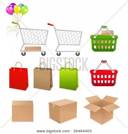 Collection For Shopping From Cart, Basket, Boxes And Packages
