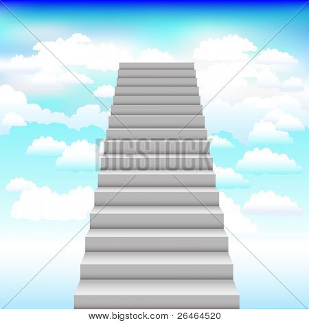 Grey Staircase In Blue Sky