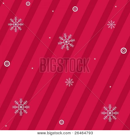 Crimson Background With Strips And Snowflakes, Vector Illustration