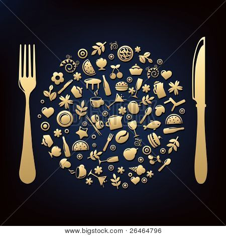 Restaurant Icons In Form Of Sphere With Plug And Knife, Vector Illustration