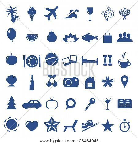 Tourismus und Urlaub Symbole, isolated on white Background, vector illustration