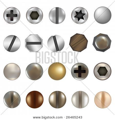 Bolzen und Schrauben, isolated on white Background, vector illustration