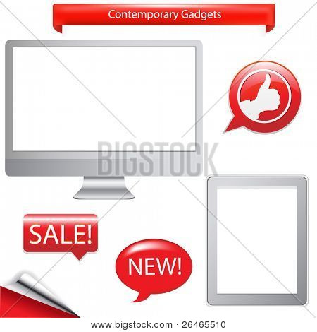 2 Contemporary Gadgets - Computer And Fictitious Touch Tablet, Isolated On White Background, Vector Illustration