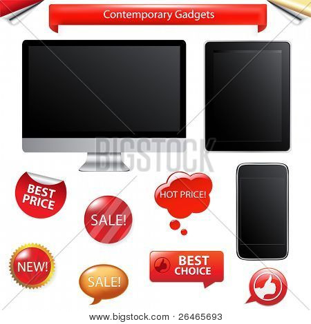 3 Contemporary Gadgets - Computer, Fictitious Touch Tablet And Phone, Isolated On White Background