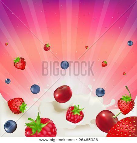 Strawberry, Raspberry, Bilberry And Cherry,  Falling Into Splash Of Milk