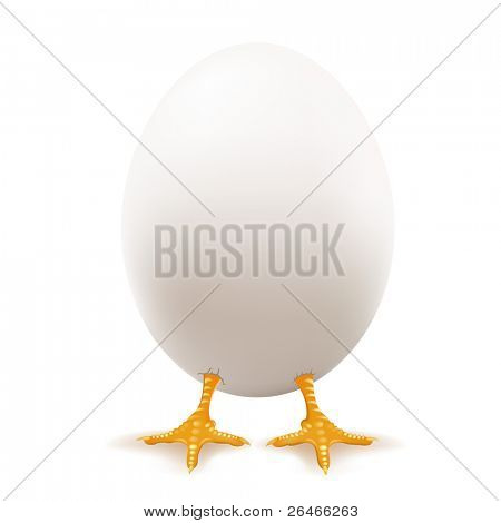 Easter White Eggs With Paws Of Chicken, Vector Illustration